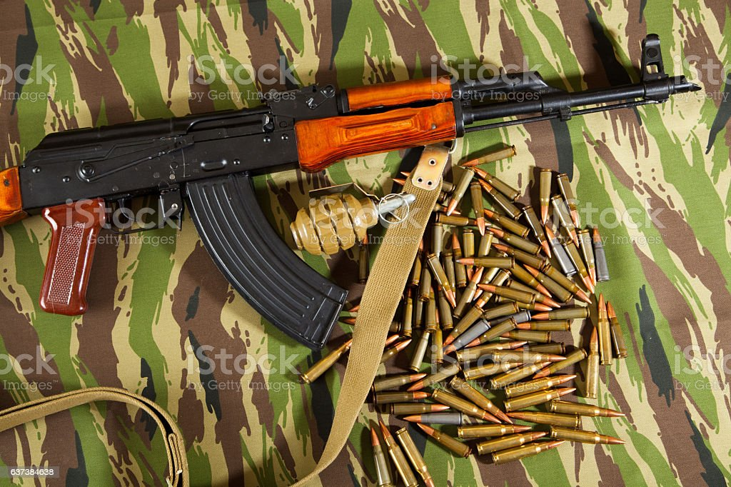 Military weapons, the gun and ammo stock photo
