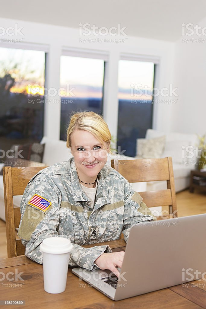 Military woman with laptop royalty-free stock photo
