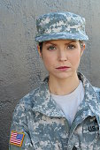 Military woman with serious expression