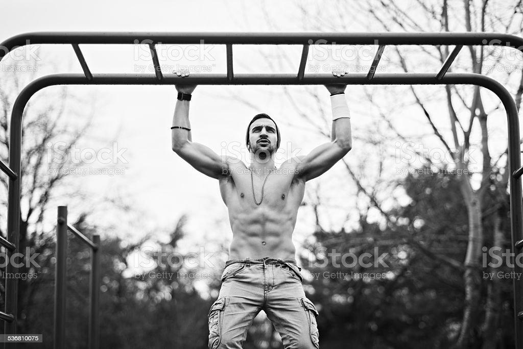 military workout stock photo