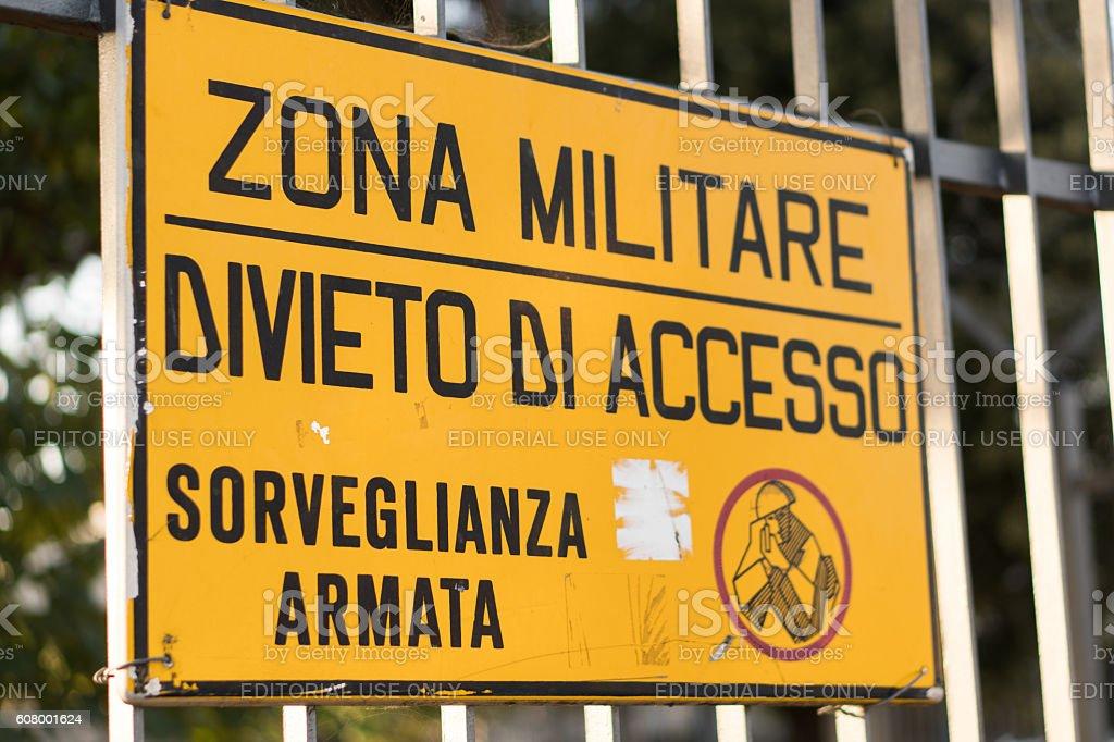 Rome, Italy - July 8, 2016: Military zone, armed surveillance stock photo