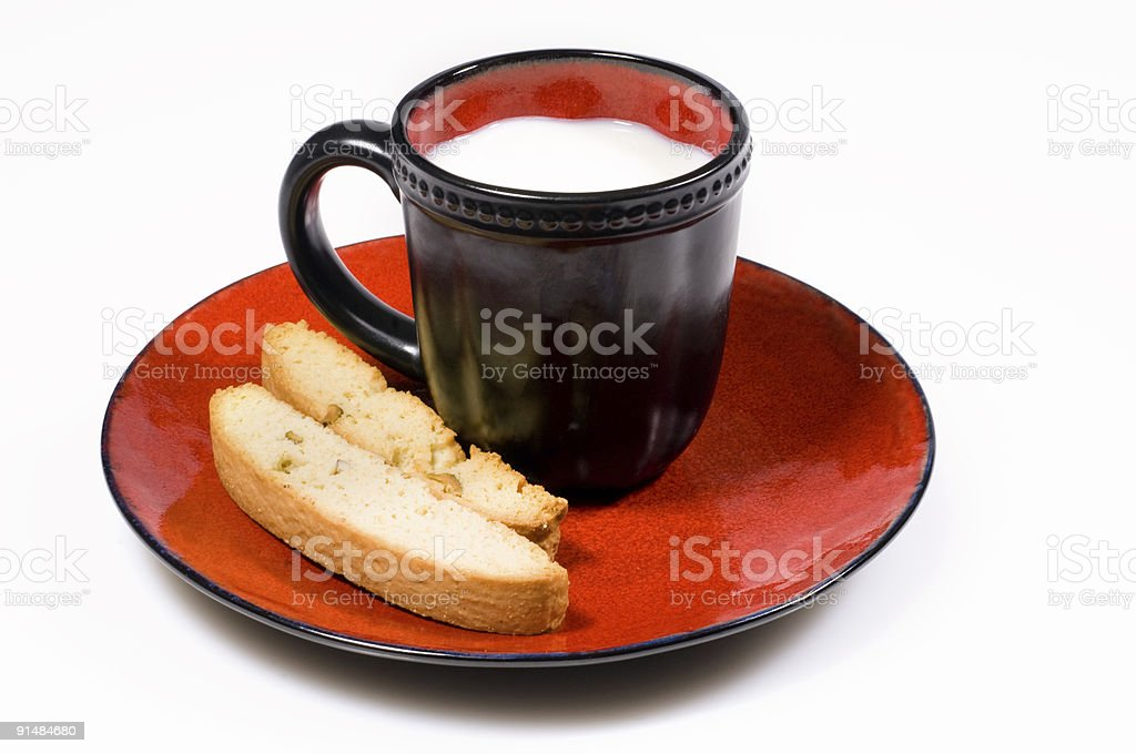 Milk and biscotti royalty-free stock photo