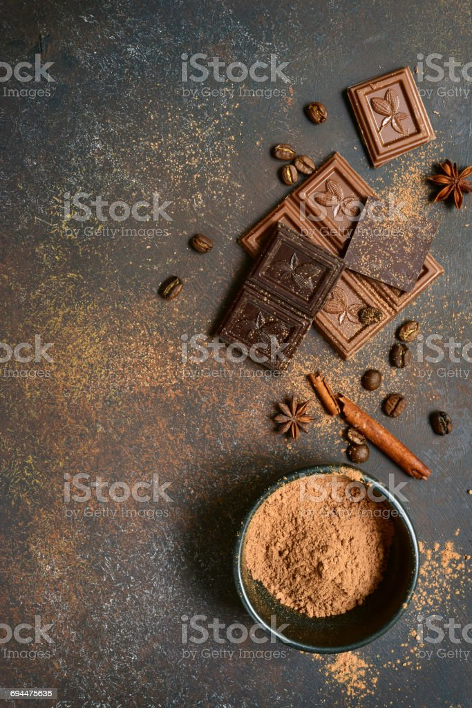 Milk and bitter chocolate with cocoa and spices stock photo