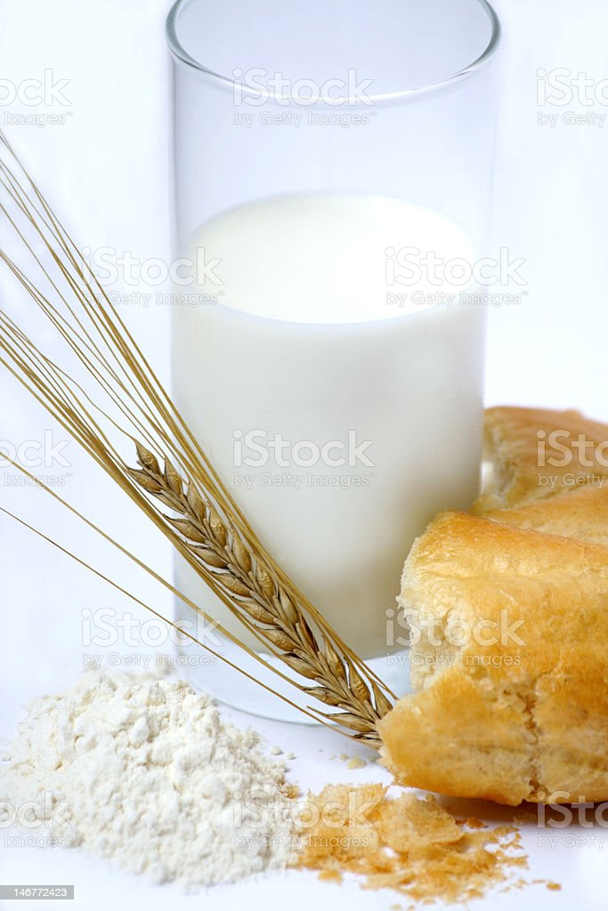 Milk and Bred at breakfast royalty-free stock photo