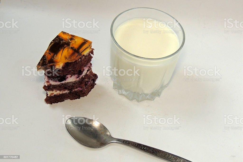 Milk and cake stock photo