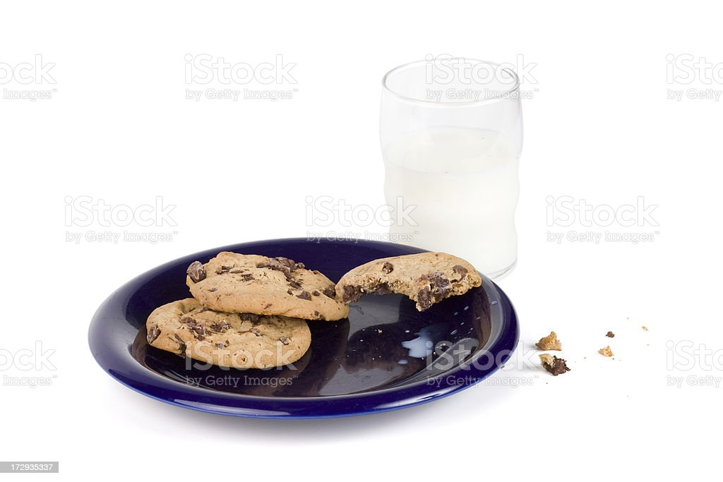 Milk and chocolate chip cookies royalty-free stock photo
