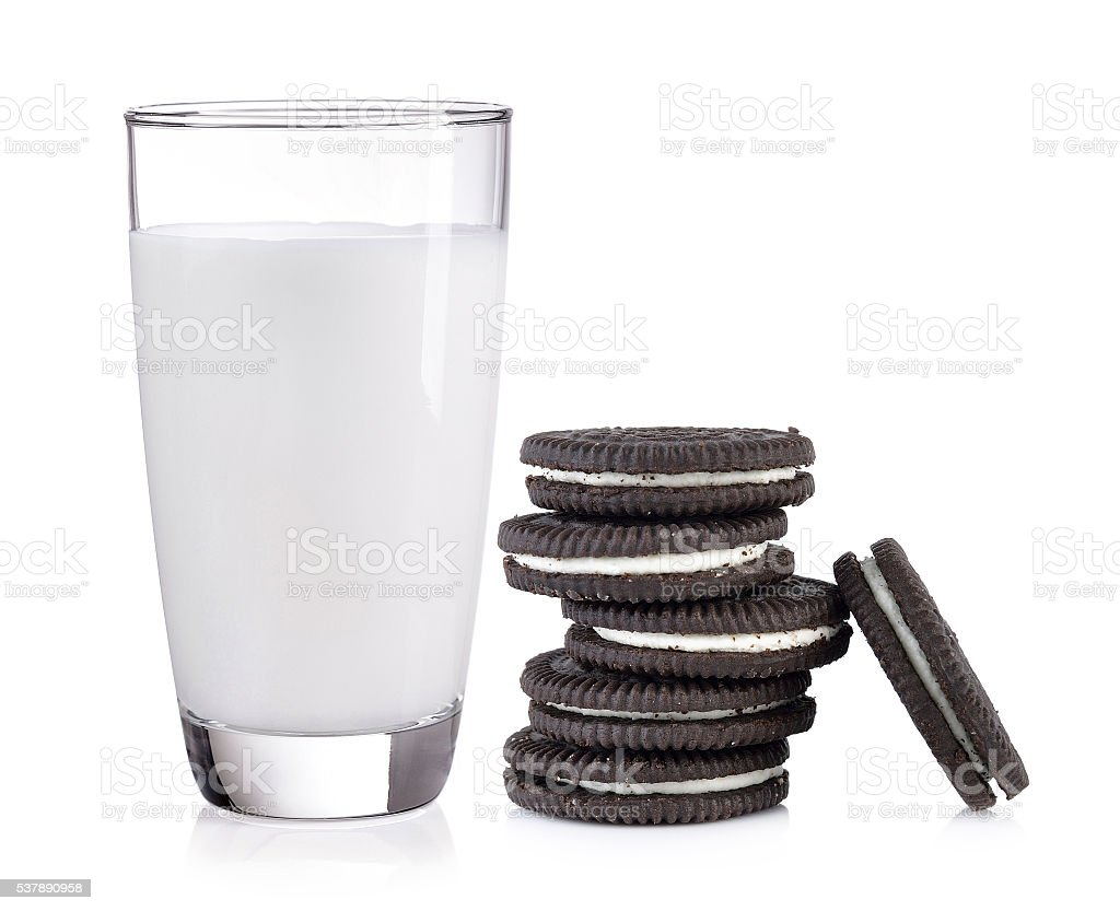 milk and Chocolate cookie on white background stock photo