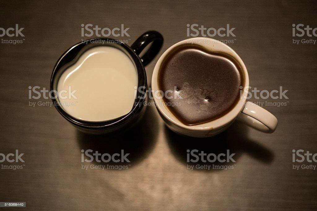 Milk and Coffee stock photo