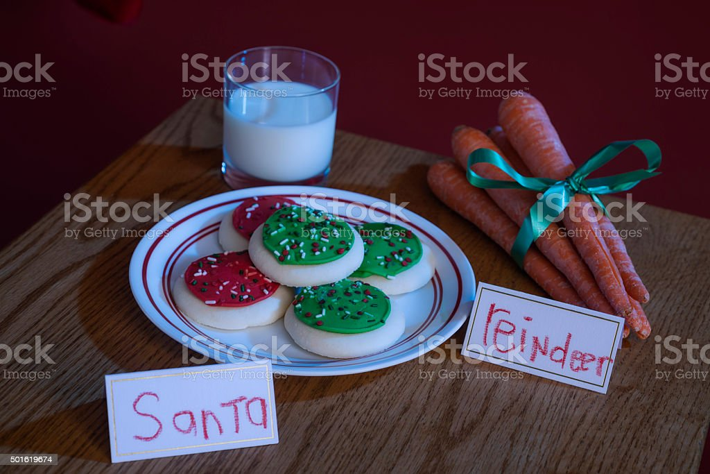 Milk and cookies for Santa and carrots for his Reindeer stock photo