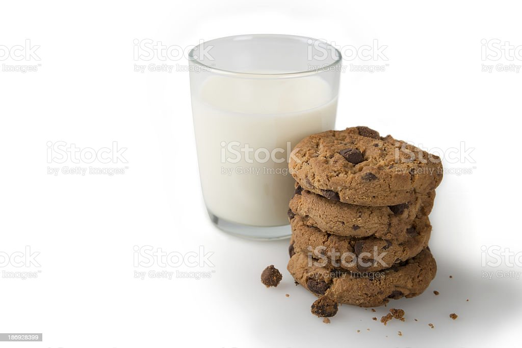 Milk and Cookies Isolated on a White Background stock photo