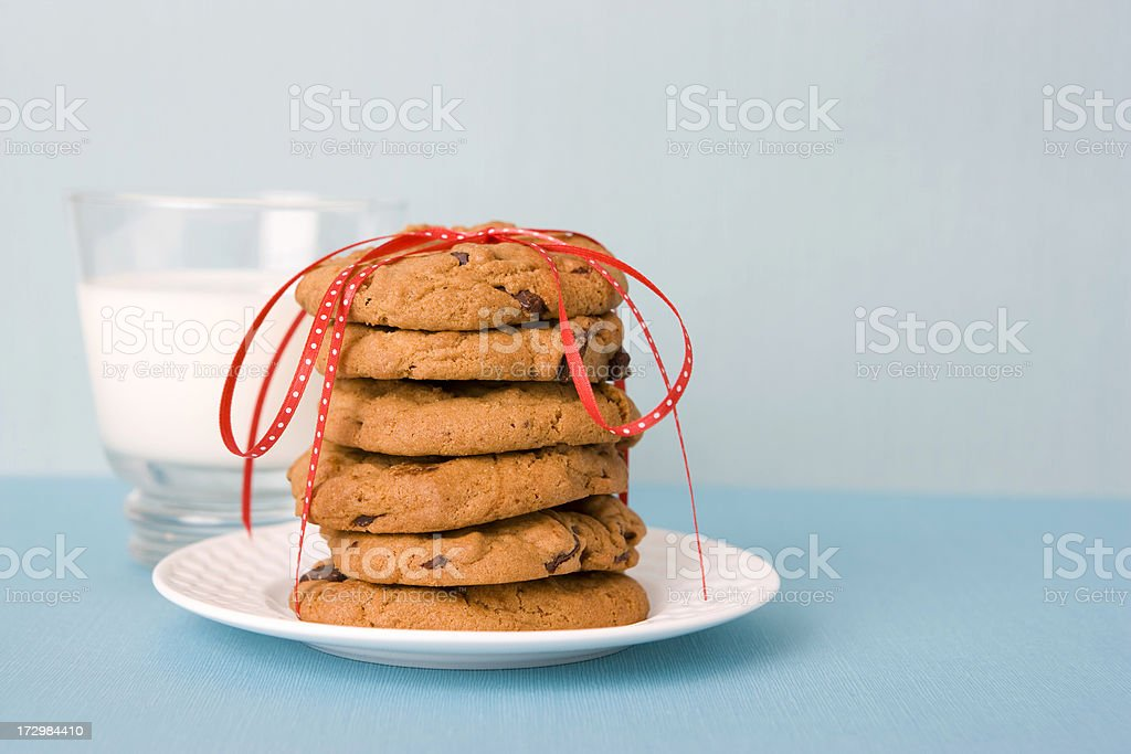 Milk and cookies on a plate for Santa royalty-free stock photo