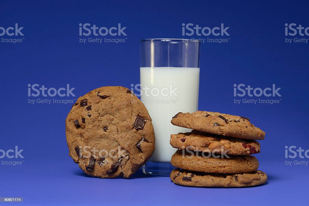 Milk and Cookies on Blue stock photo
