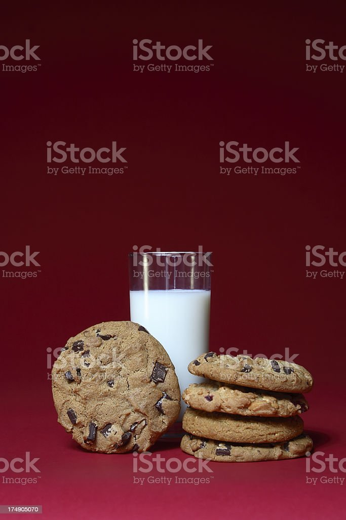 Milk and Cookies on Red stock photo
