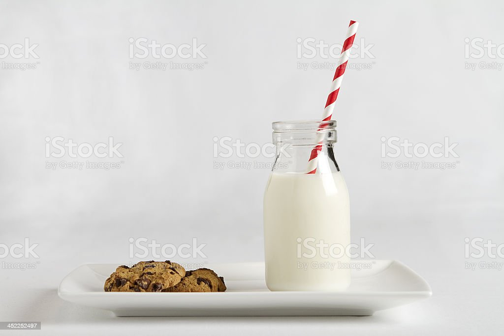 Milk and cookies snack for Santa horizontal stock photo