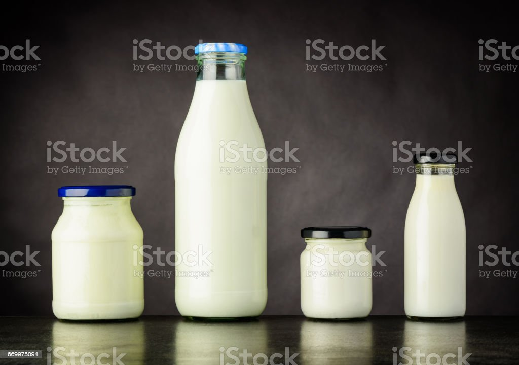 Milk and Dairy Products in Bottle and Jar stock photo