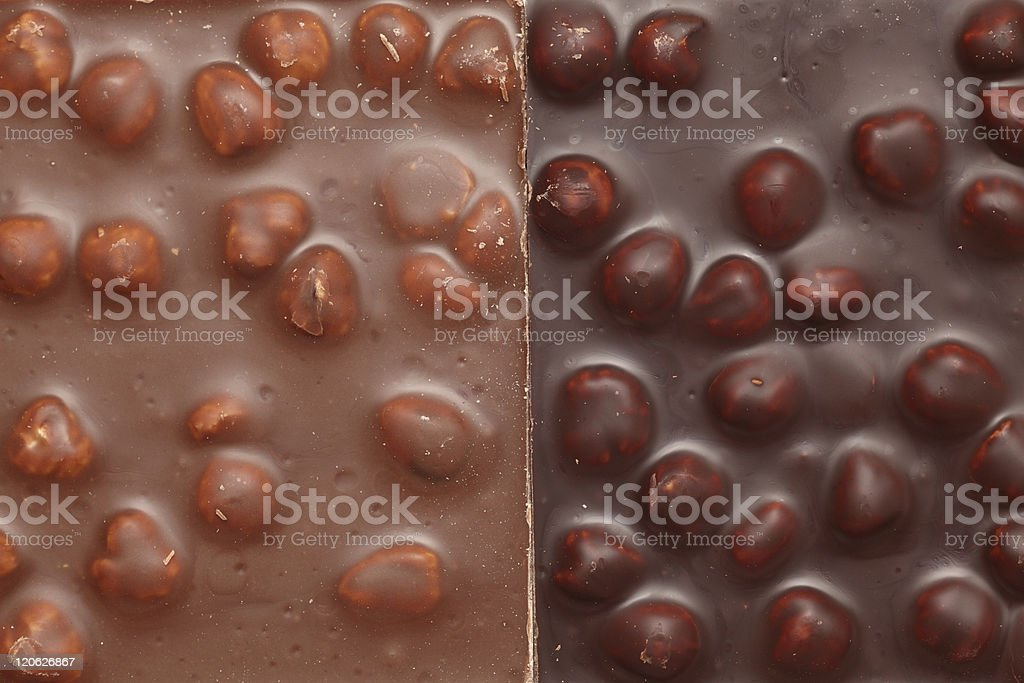 Milk and Dark Chocolate with nuts stock photo