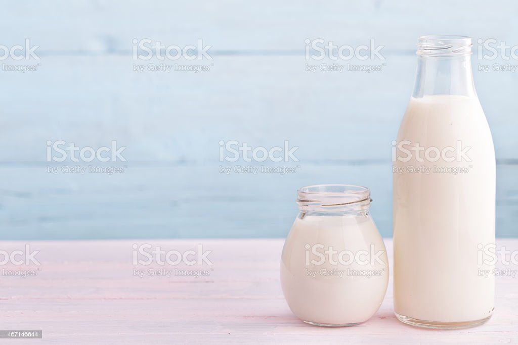 Milk and yogurt at right side stock photo