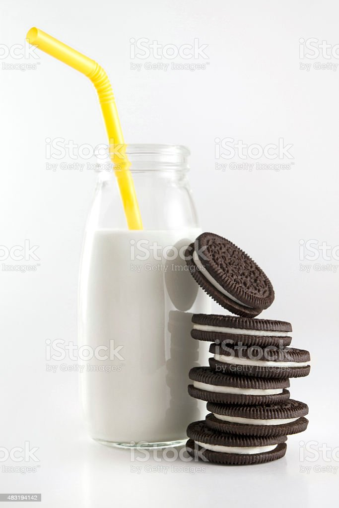 Milk Bottle and Cookies stock photo