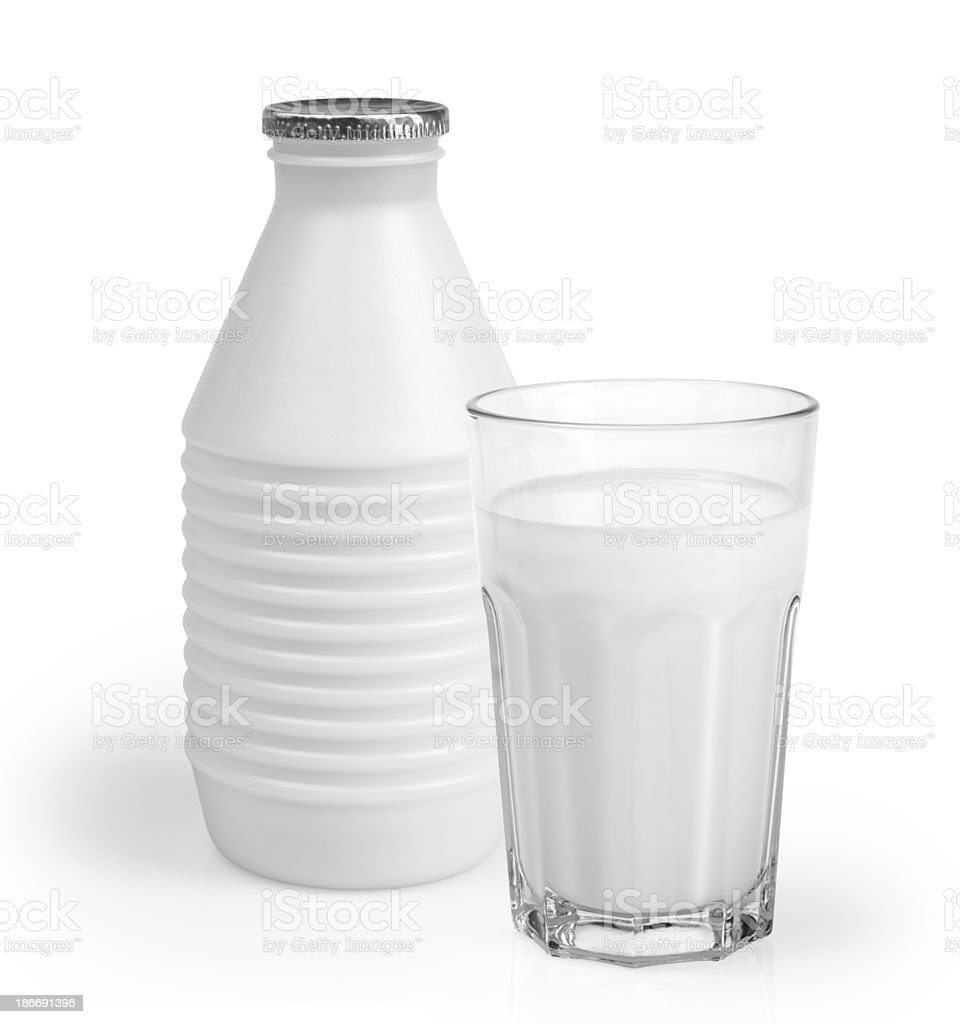 Milk bottle and glass stock photo