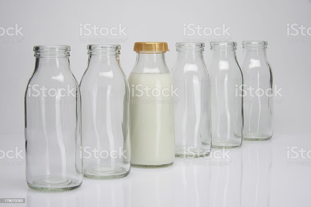 milk bottles royalty-free stock photo