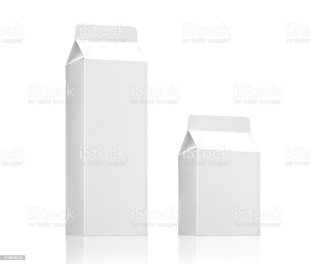 Milk box pack, Blank White Carton juice or beverage package stock photo