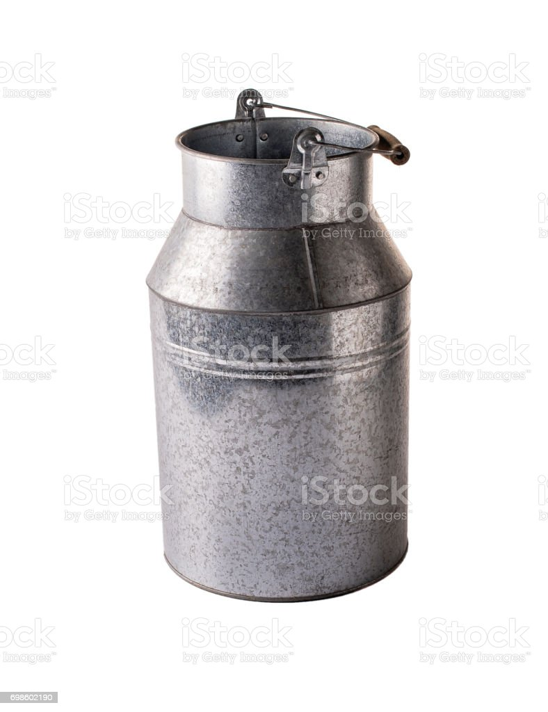 Milk can on white background. stock photo