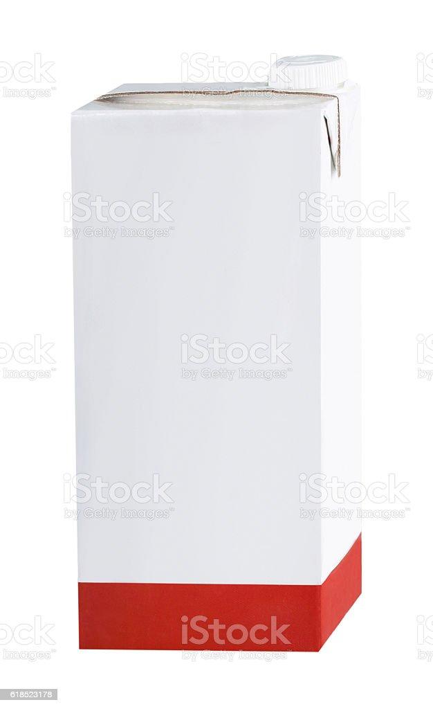 Milk carton on white stock photo
