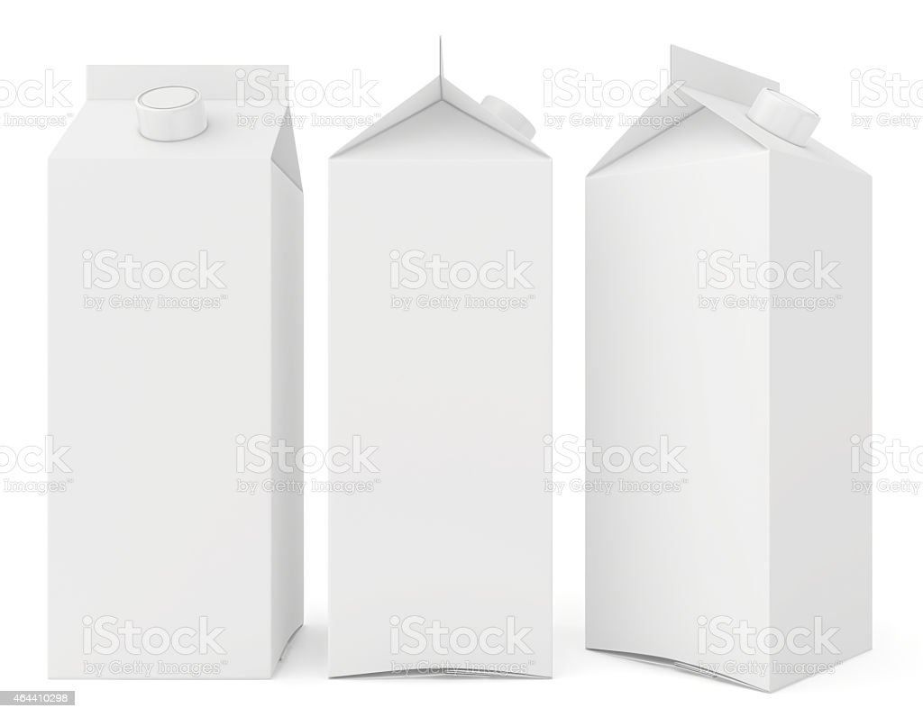 Milk cartons isolated on white background. 3d render stock photo