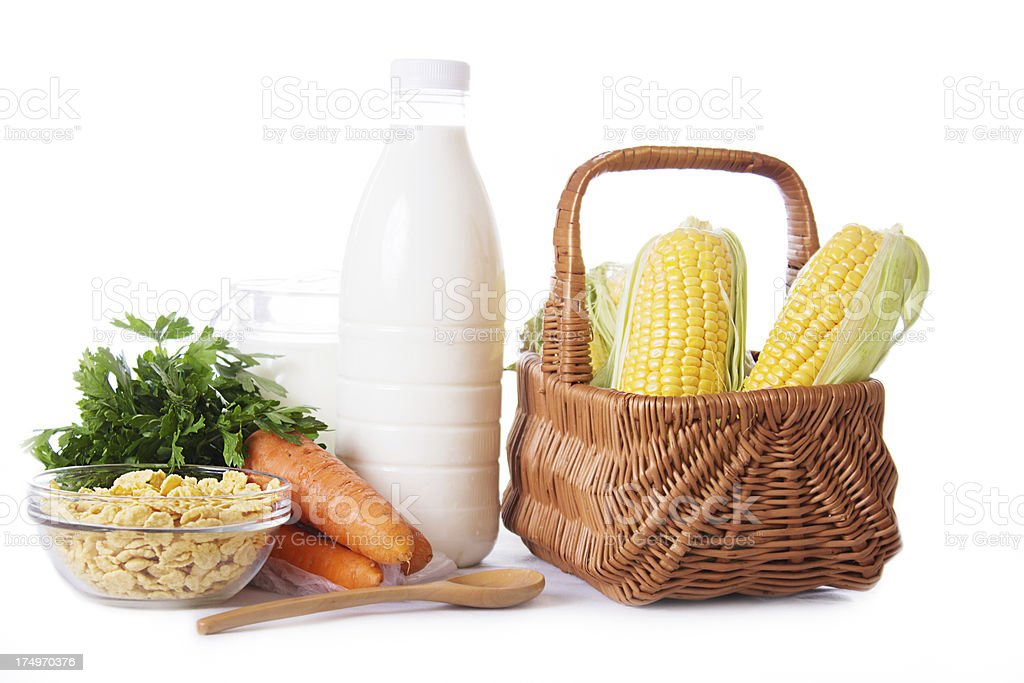 Milk, cereals and some vegetables isolated royalty-free stock photo