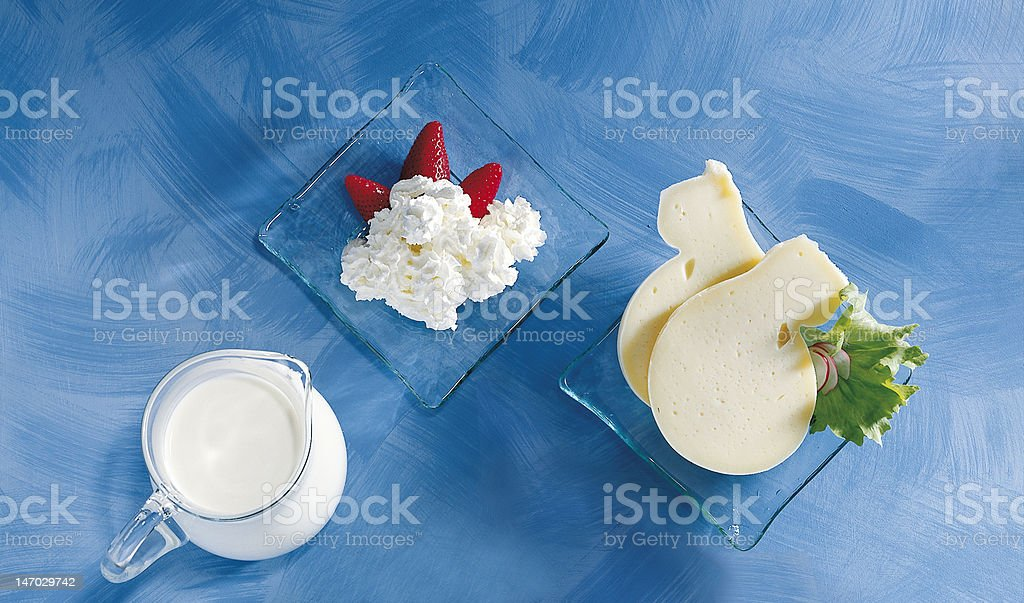 Milk, cheese and strawberries royalty-free stock photo