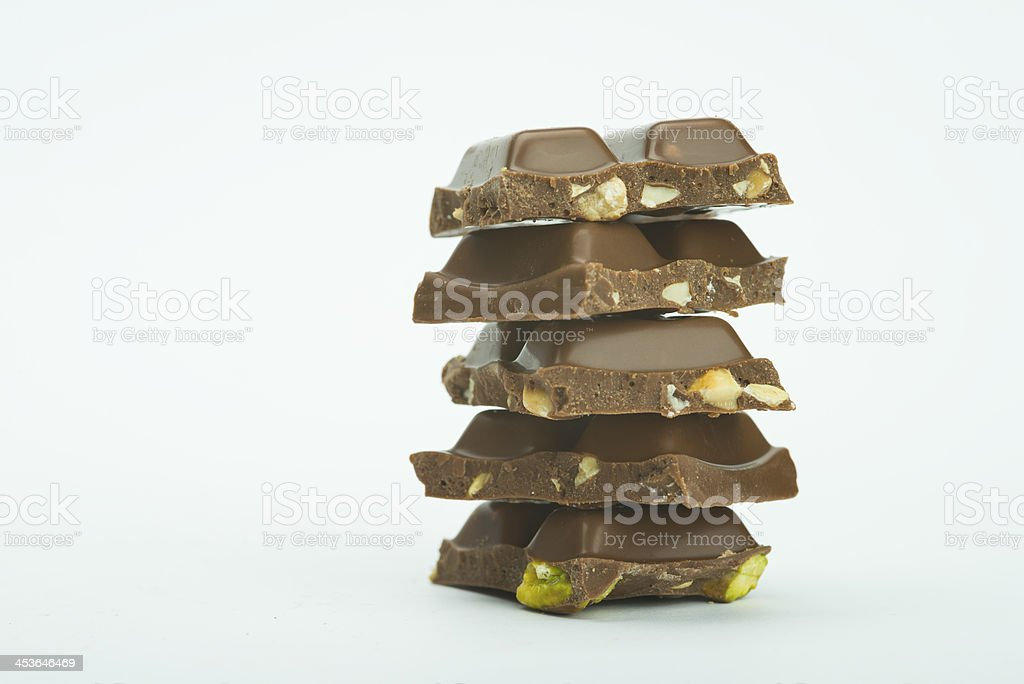 milk chocolate bar with pistachio royalty-free stock photo