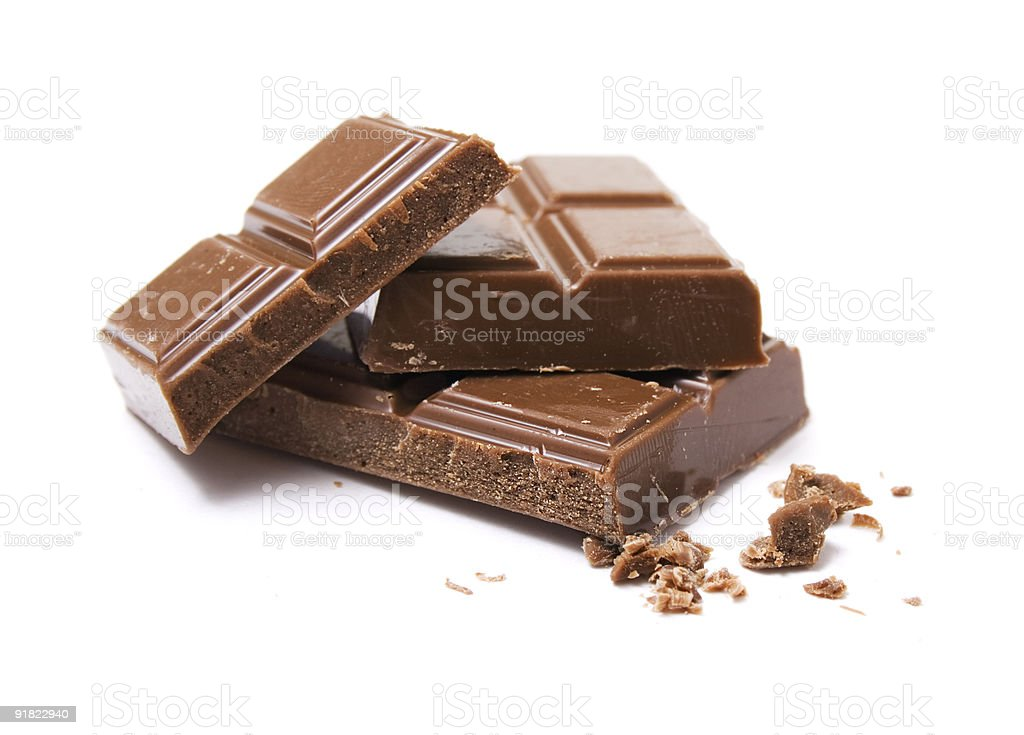 milk chocolate blocks stock photo