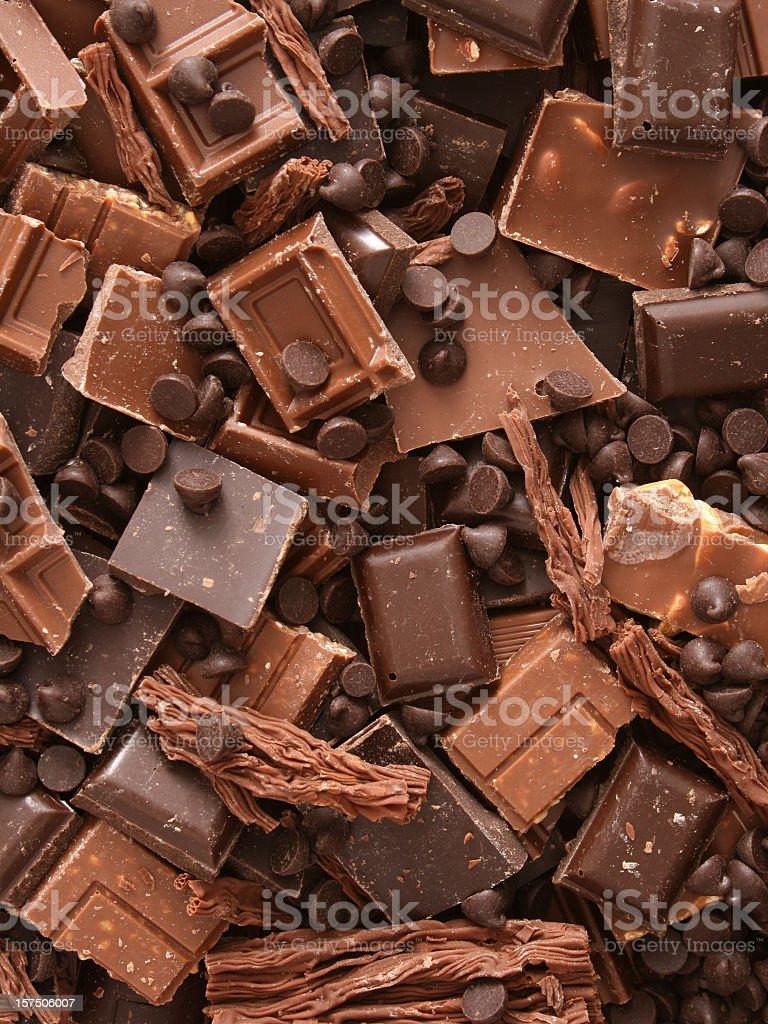 Milk chocolate chunks stock photo
