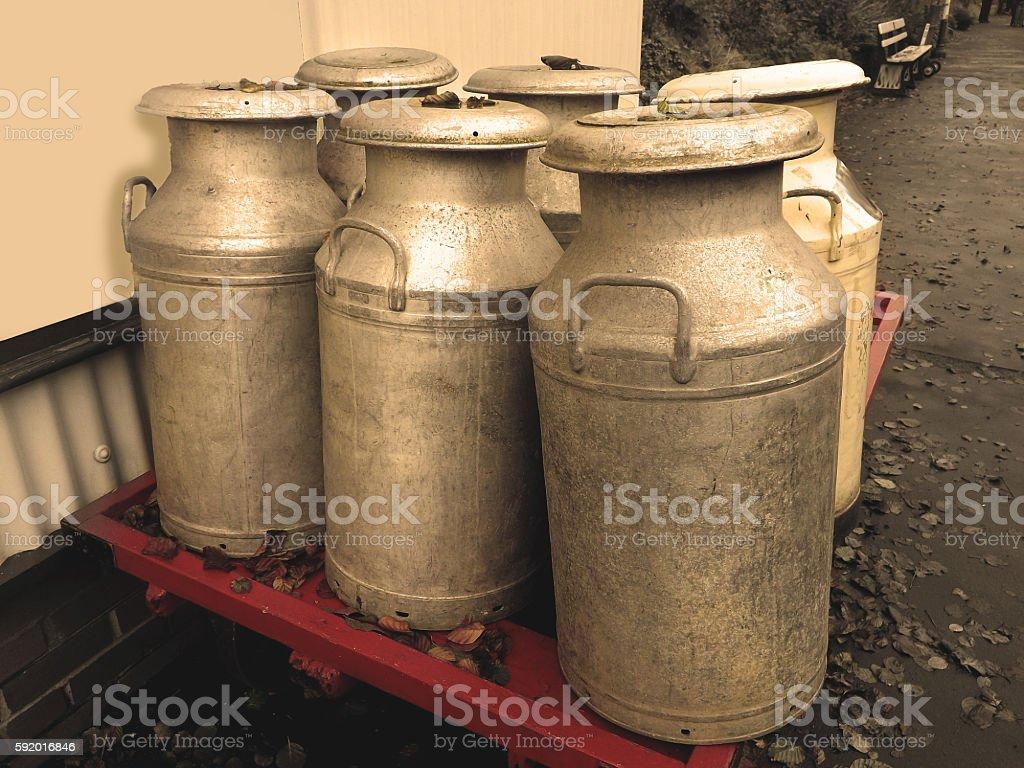 Milk Churns On Platform stock photo