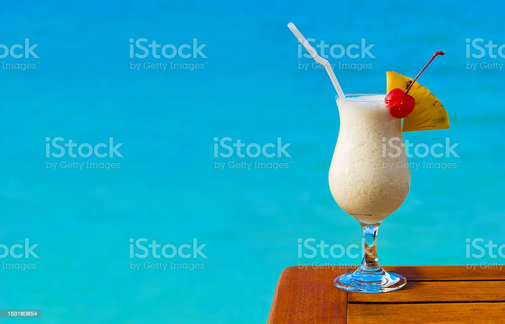 Milk cocktail on table at beach cafe royalty-free stock photo
