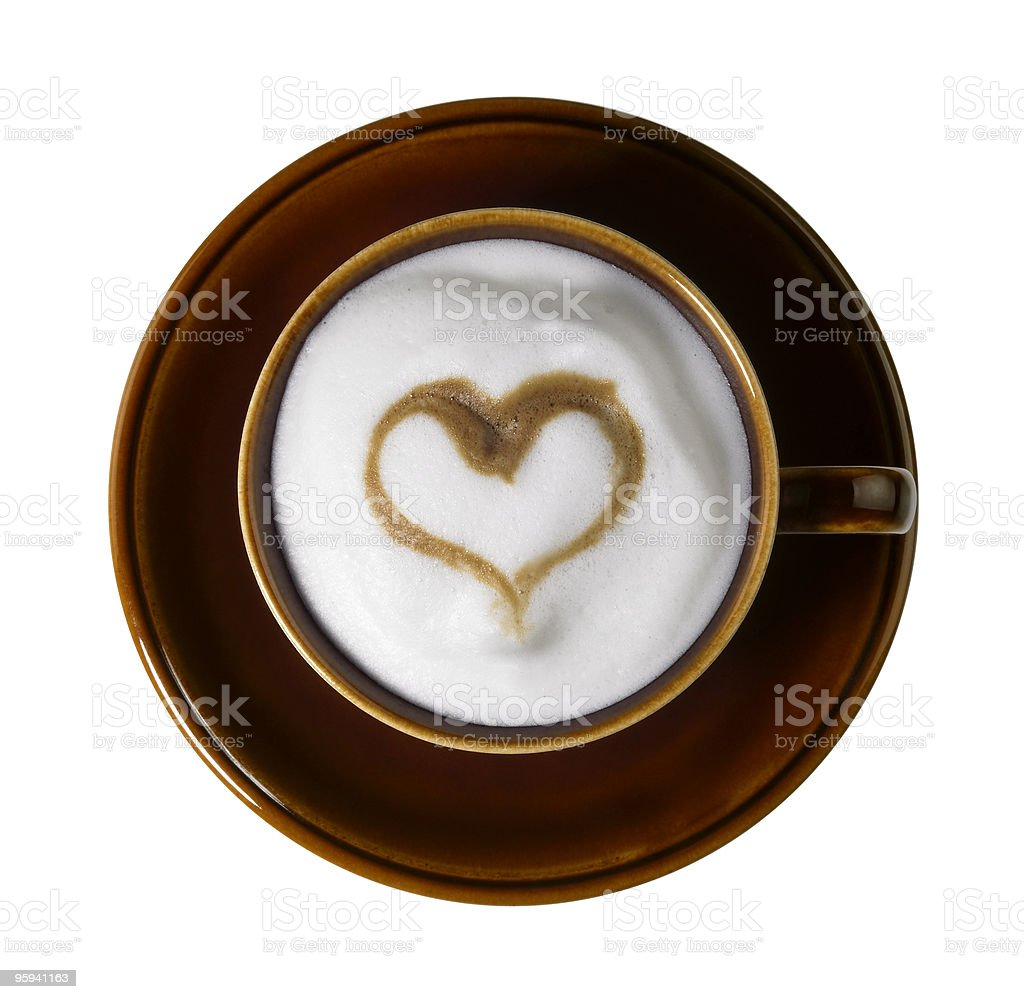 milk froth and heart shape decoration royalty-free stock photo