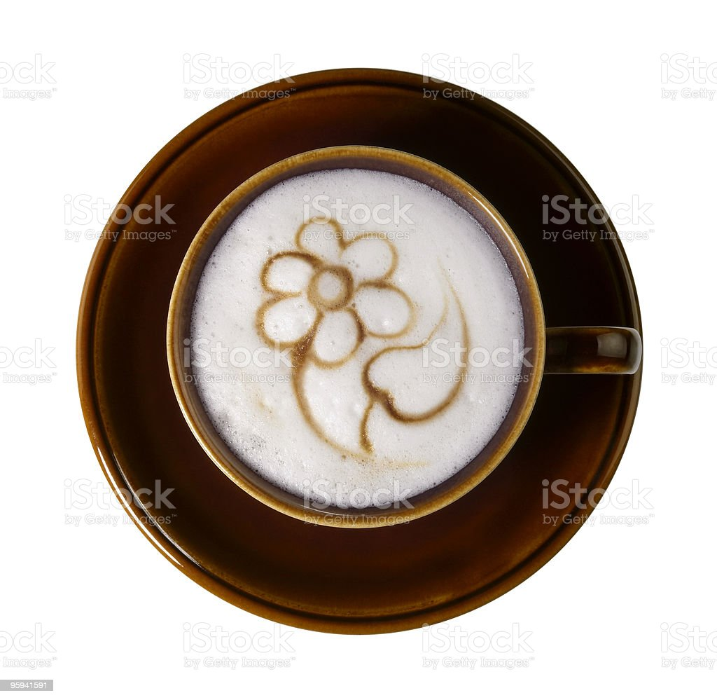 milk froth with painted flower stock photo
