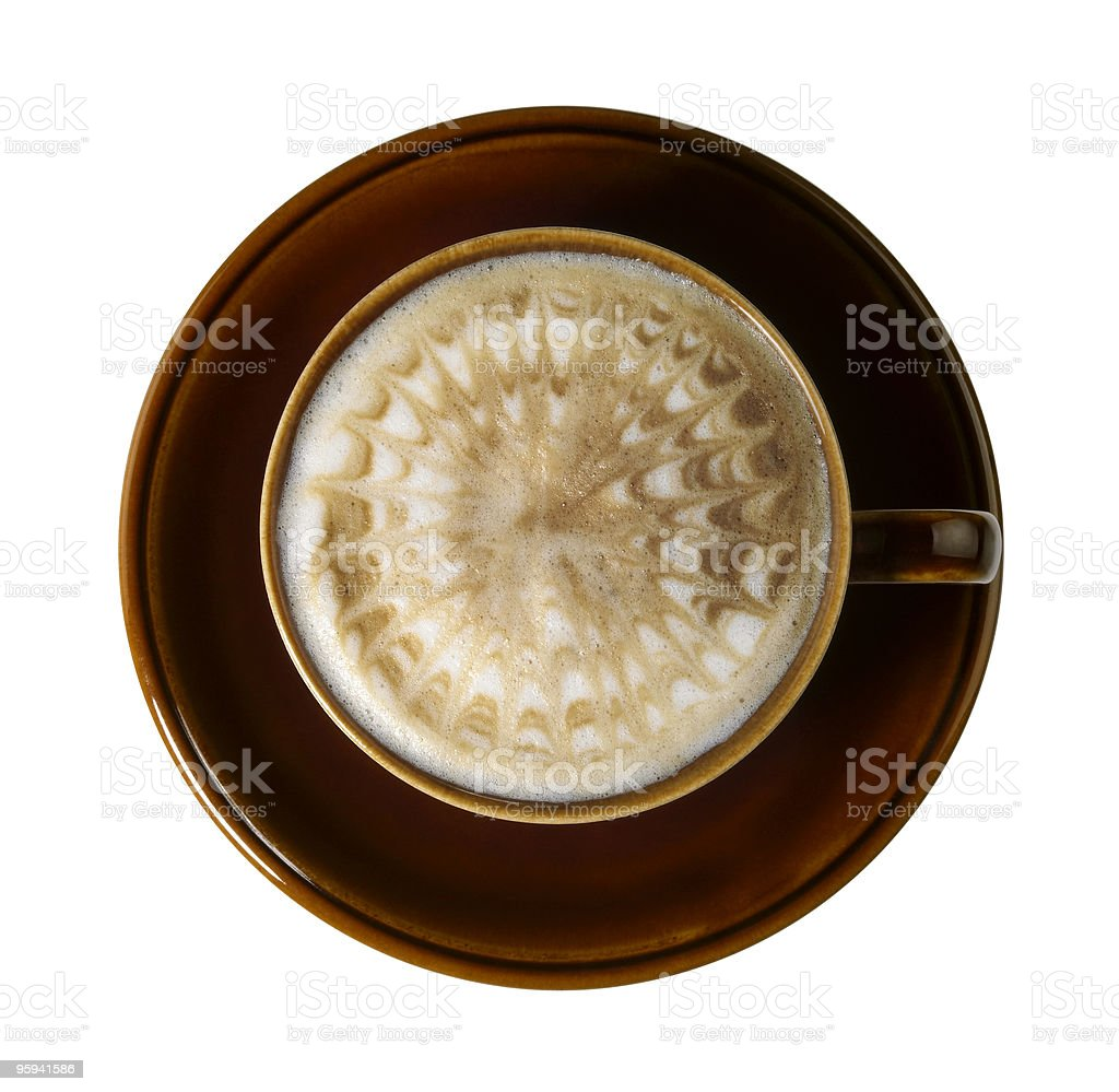 milk froth with radial pattern stock photo