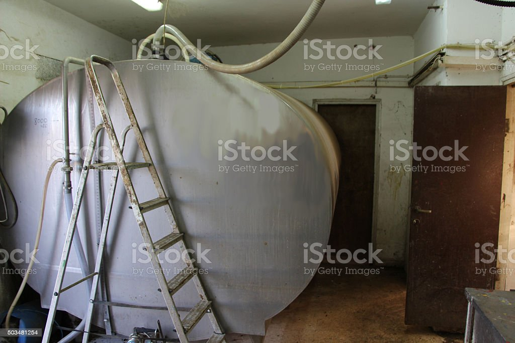 Milk holdking Tank at Dairy Farm stock photo