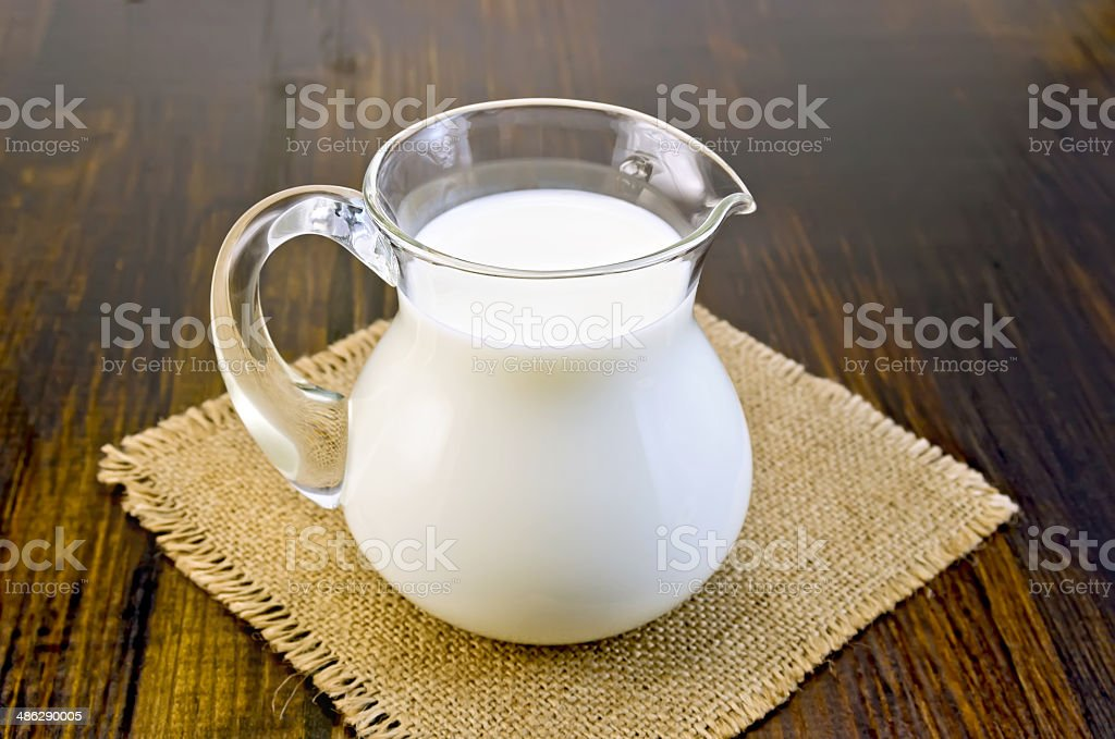 Milk in a glass jar on sacking stock photo