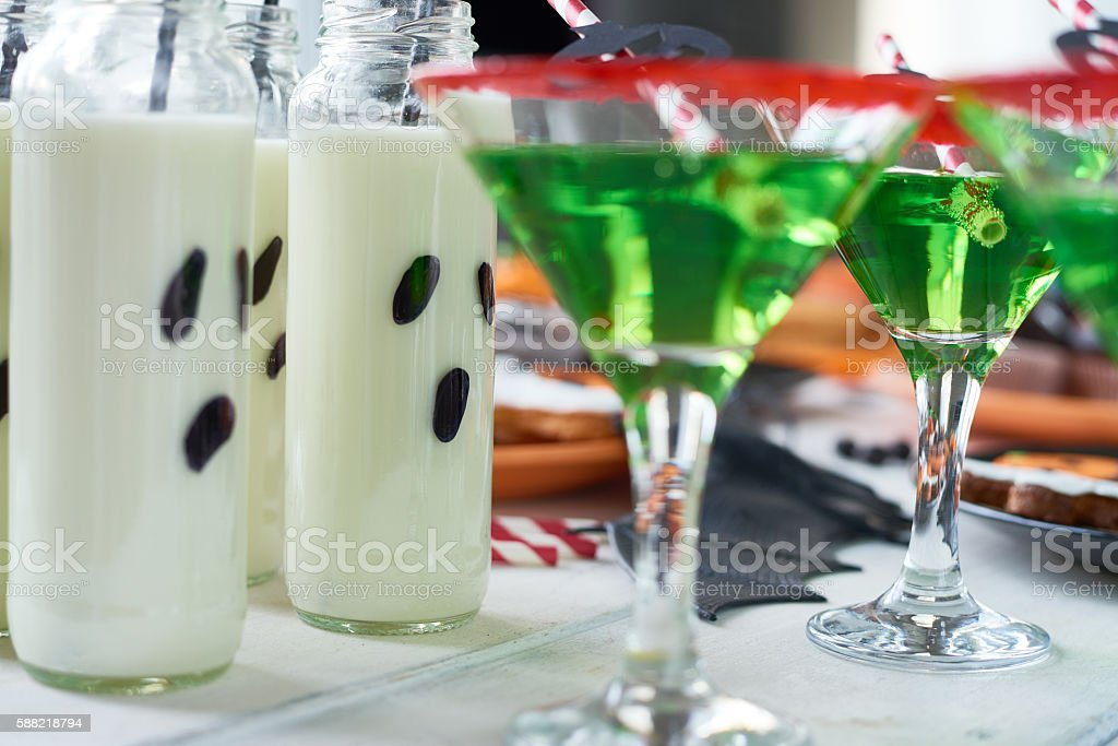 Milk in bottles stock photo