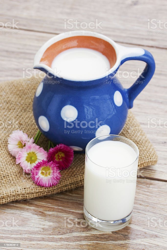milk in glass  on wooden table royalty-free stock photo
