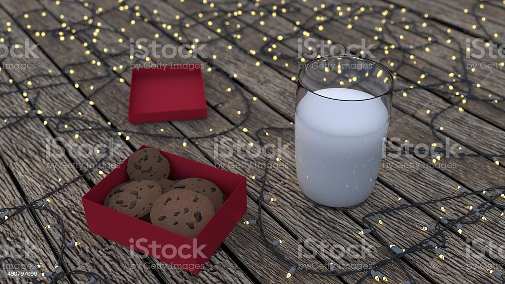 Milk in Glass with cookies in box stock photo