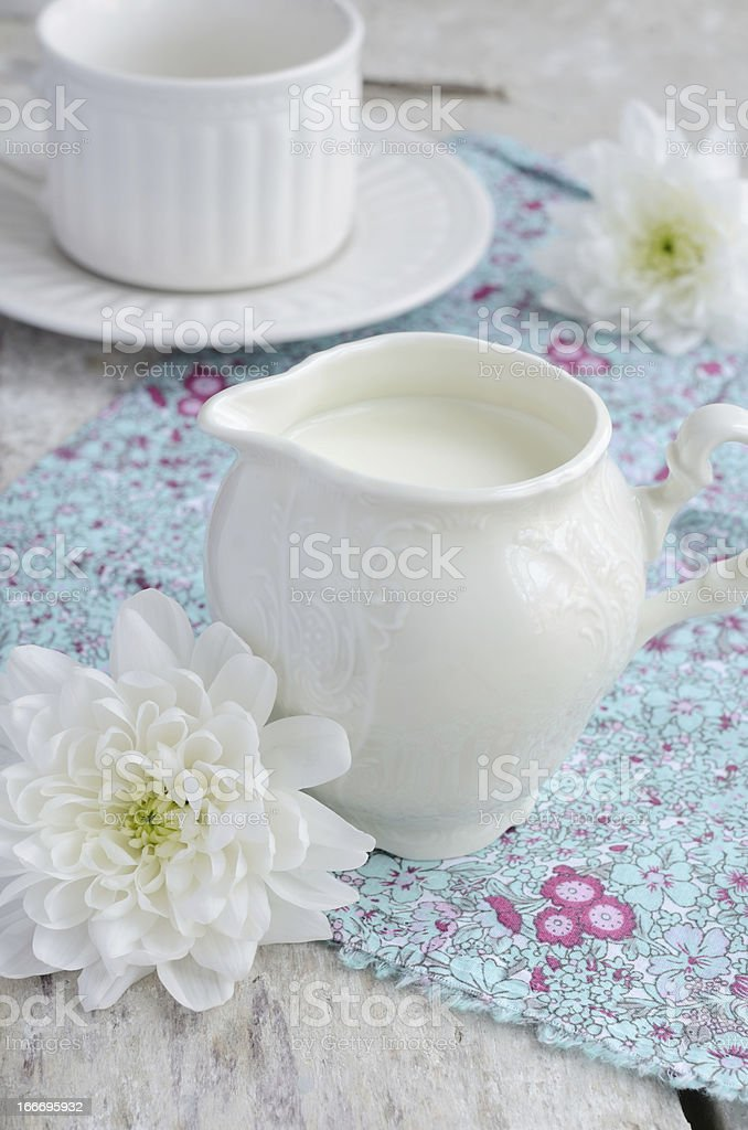 Milk in white jug royalty-free stock photo