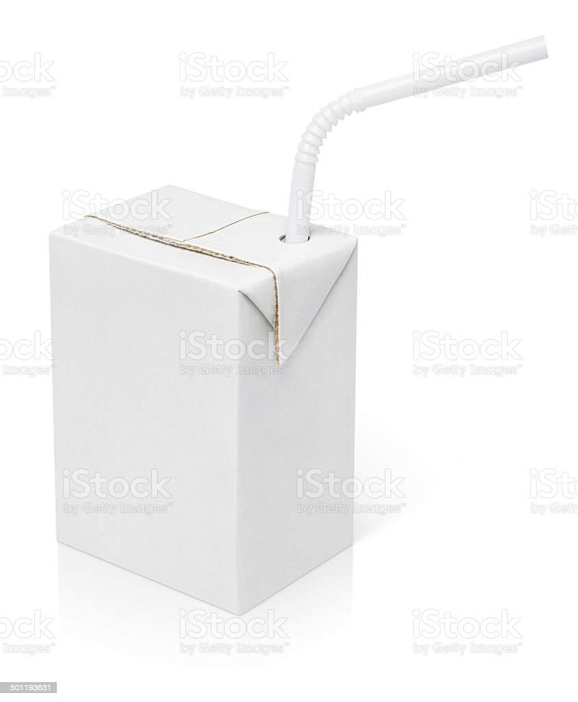 Milk or juice carton package with straw stock photo