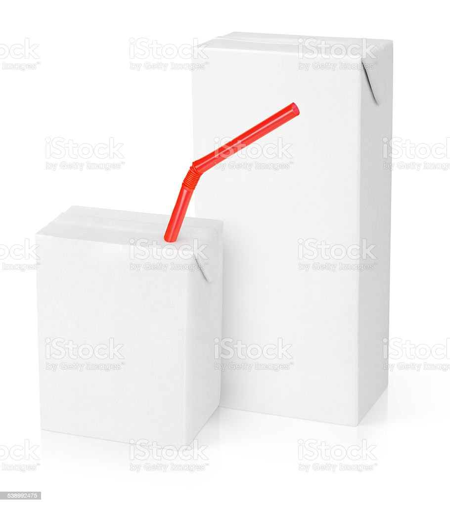 Milk or juice carton packages stock photo