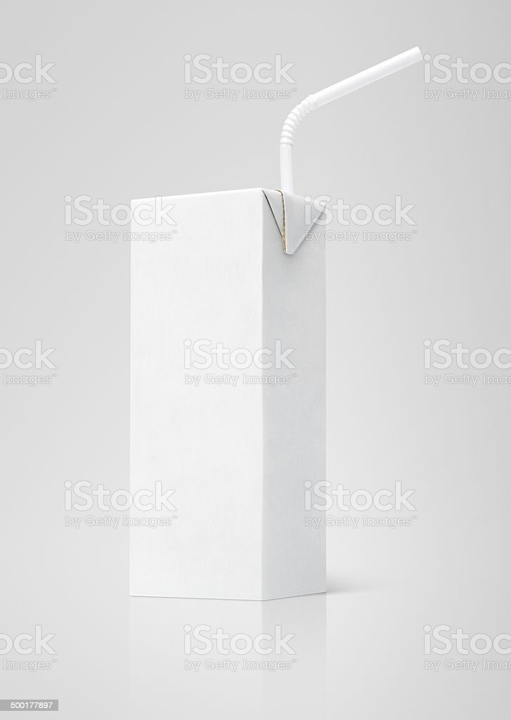Milk or juice white carton packag with straw stock photo