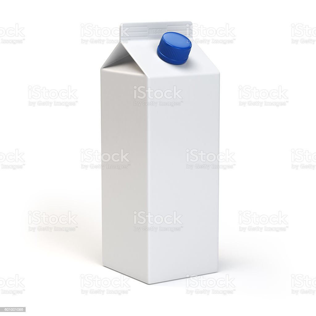 Milk or juiice blank white carton pack Isolated on white. stock photo