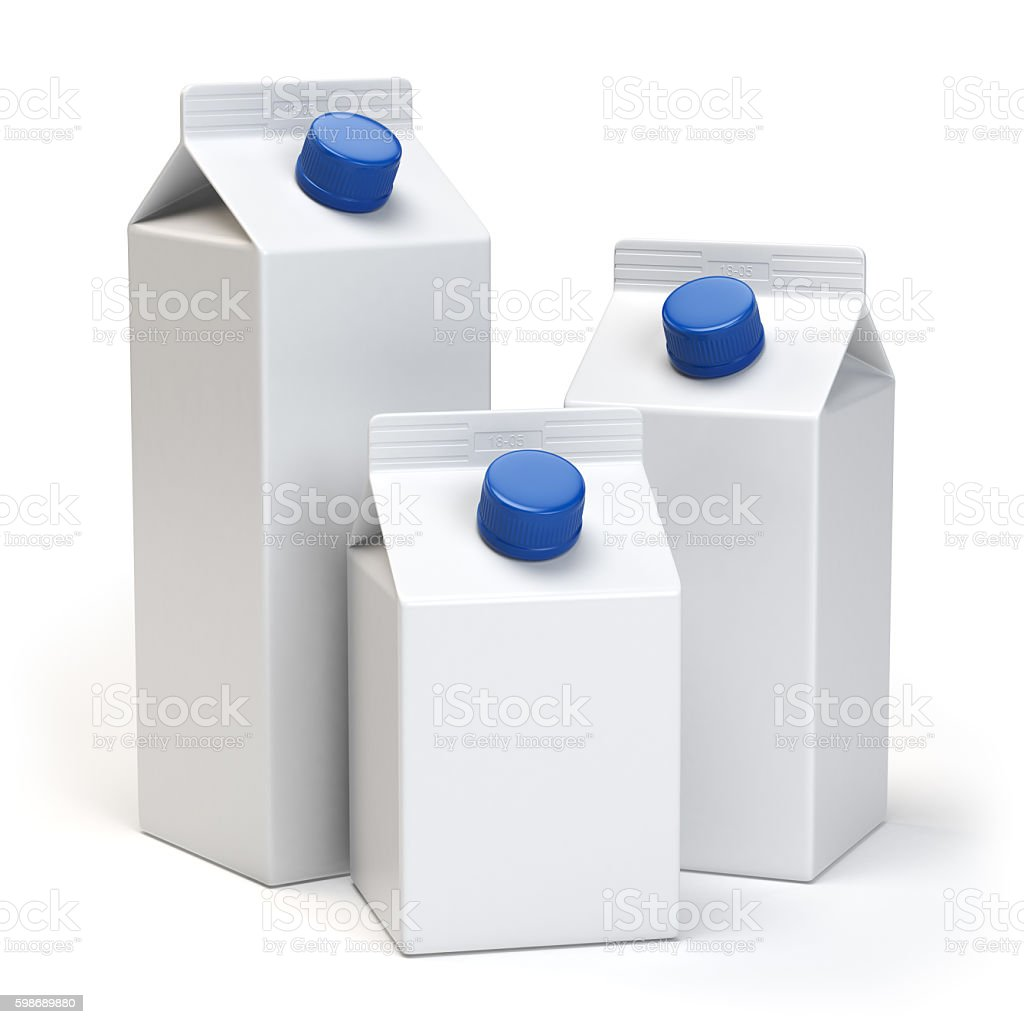 Milk or juiice blank white carton packs Isolated on white. stock photo