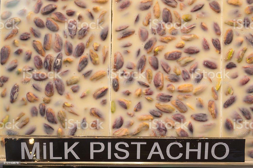 Milk pistachio white chocolate stock photo